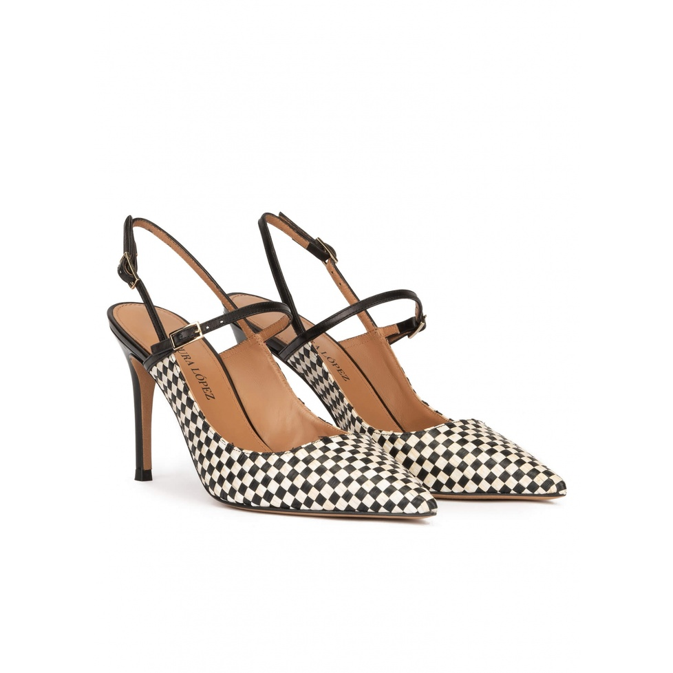 Black and white checked slingback high heel pumps