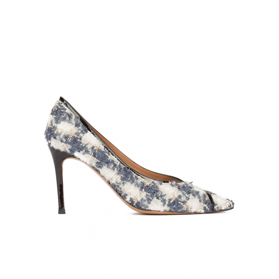 Checked fabric point-toe pumps with black patent ankle strap