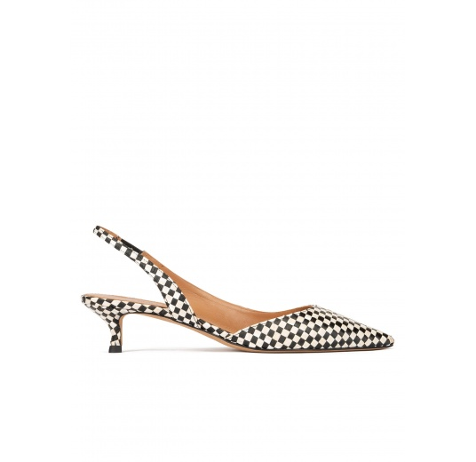 Black slingback pumps in black and white checked raffia Pura López