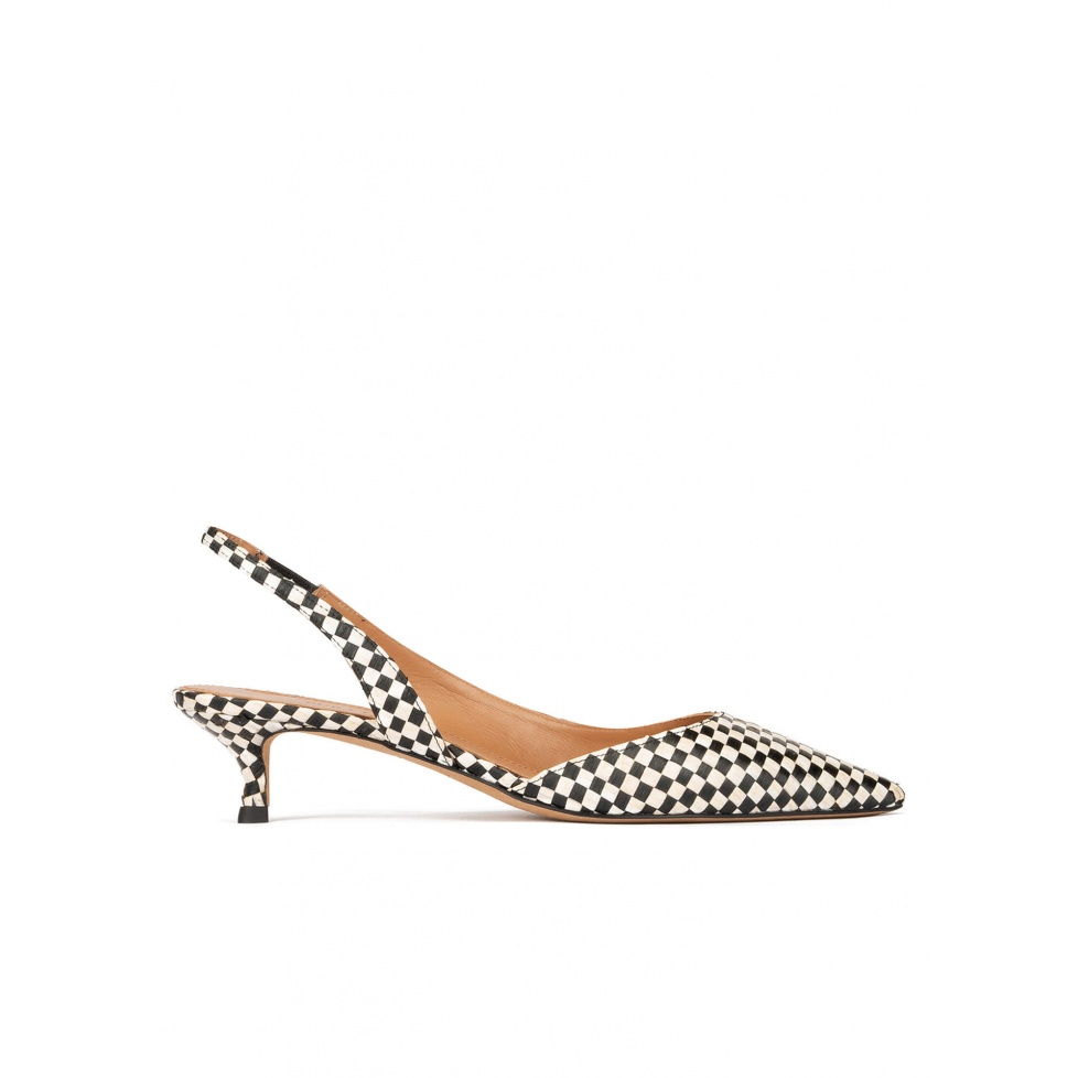 Black slingback pumps in black and white checked raffia