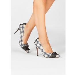 Zapatos de tacón alto en tejido de cuadros con volantes de piel Pura López