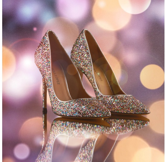 High heel pointy toe pumps in multicolored glitter Pura López
