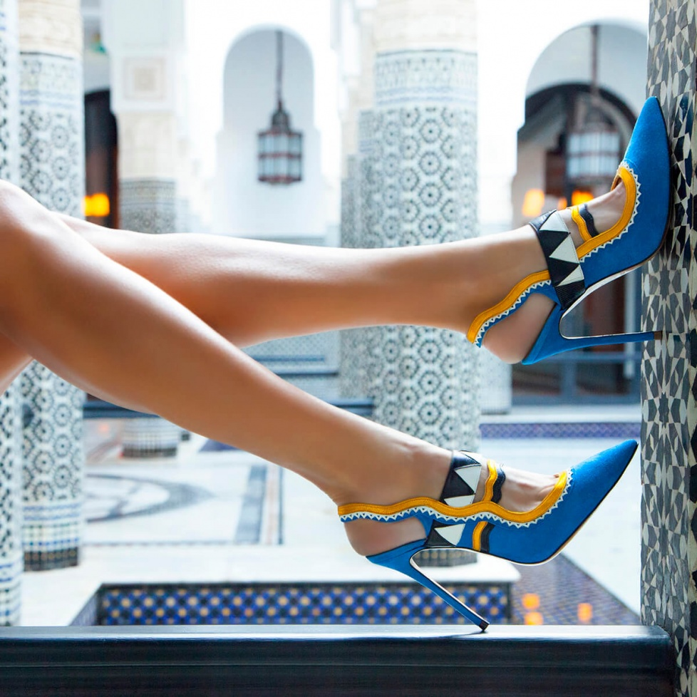 Royal blue slingback pumps - online shoe store Pura Lopez