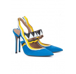 Royal blue high heel slingback pumps Pura López