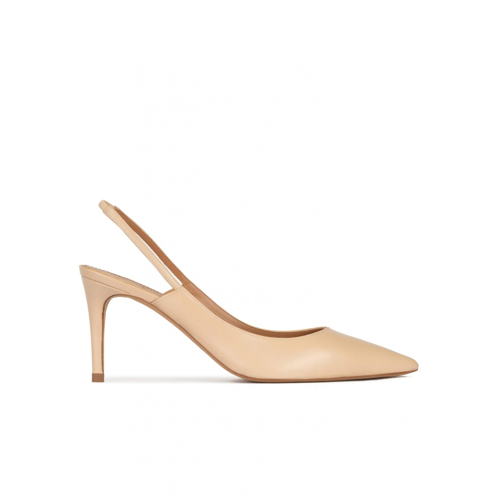 Pointed toe slingback pumps in beige leather