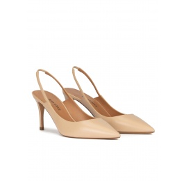 Pointed toe slingback pumps in beige leather Pura López