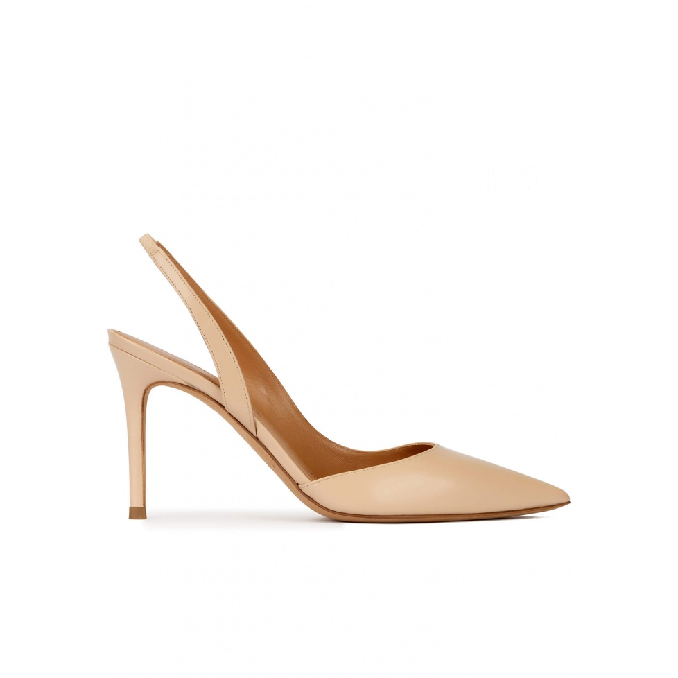 Slingback heeled pointy toe pumps in beige leather