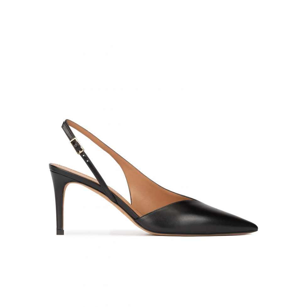 Mid heel slingback shoes in black leather