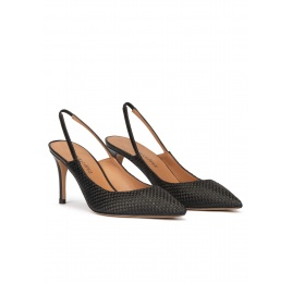 Slingback point-toe mid heel pumps in black raphia Pura López
