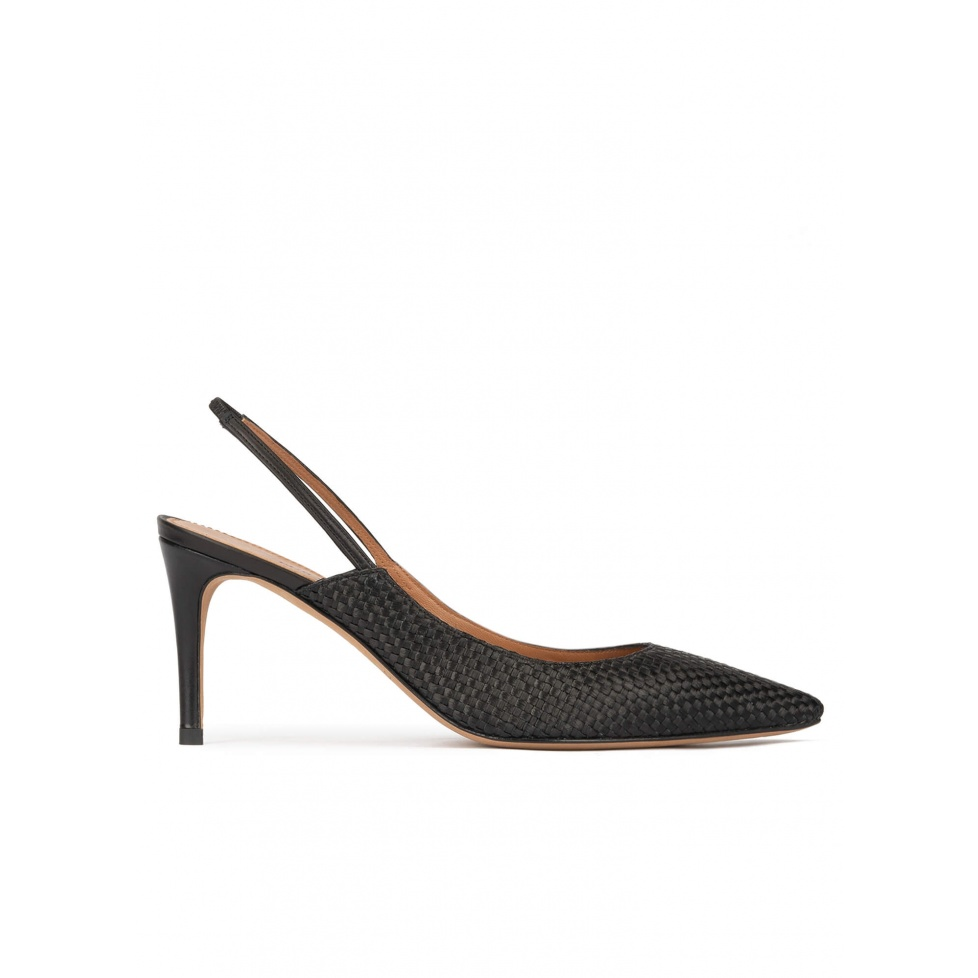 Slingback point-toe mid heel pumps in black raphia