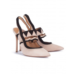 Two-tone heeled slingback pumps Pura López