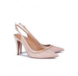 Nude scalloped slingback pumps Pura López