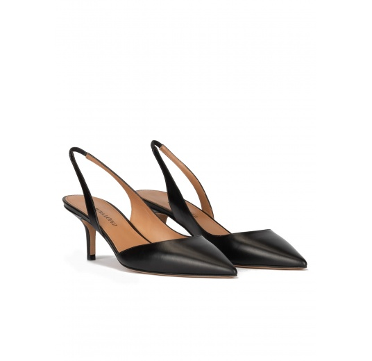 Black leather mid heel pointy toe pumps Pura López
