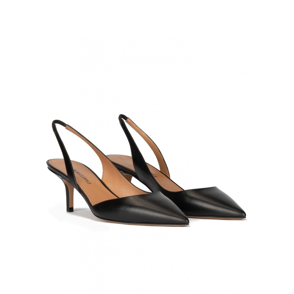 Black leather ankle strap mid heel pointy toe pumps