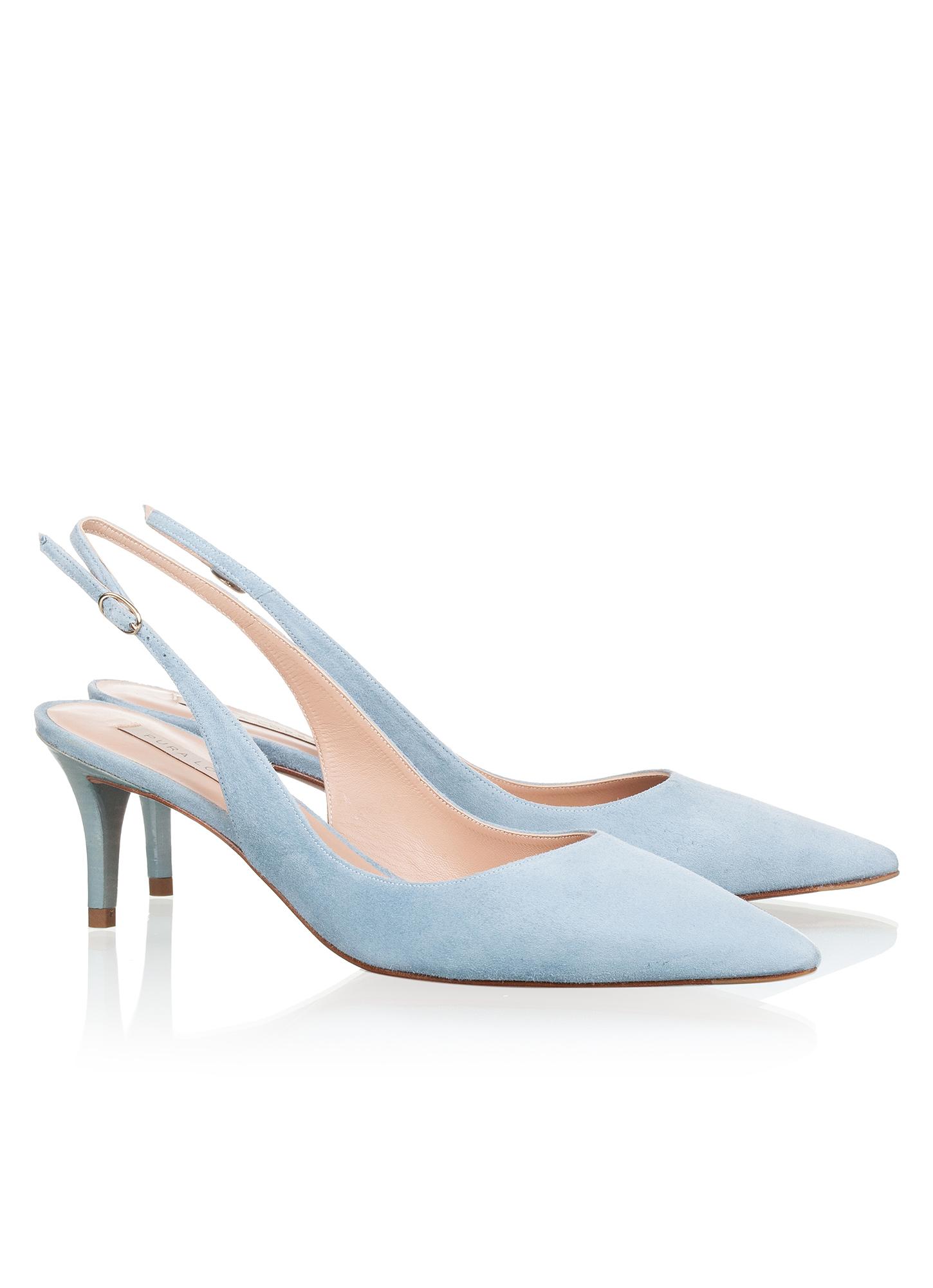 Slingback Mid Heel Pumps In Blue Suede Online Store Pura