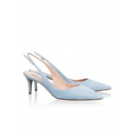 Slingback mid heel pumps in sky blue suede Pura López