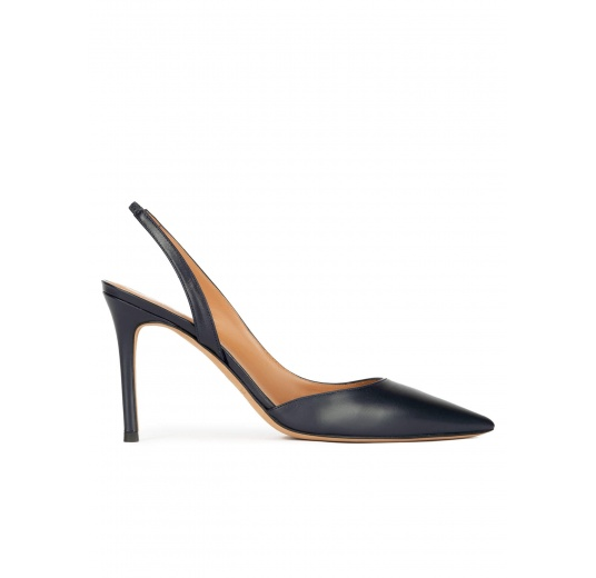 Slingback high heel pumps in navy blue leather Pura López