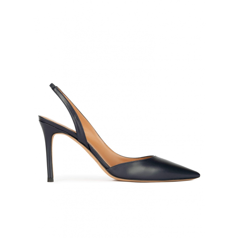 Slingback high heel pumps in navy blue leather