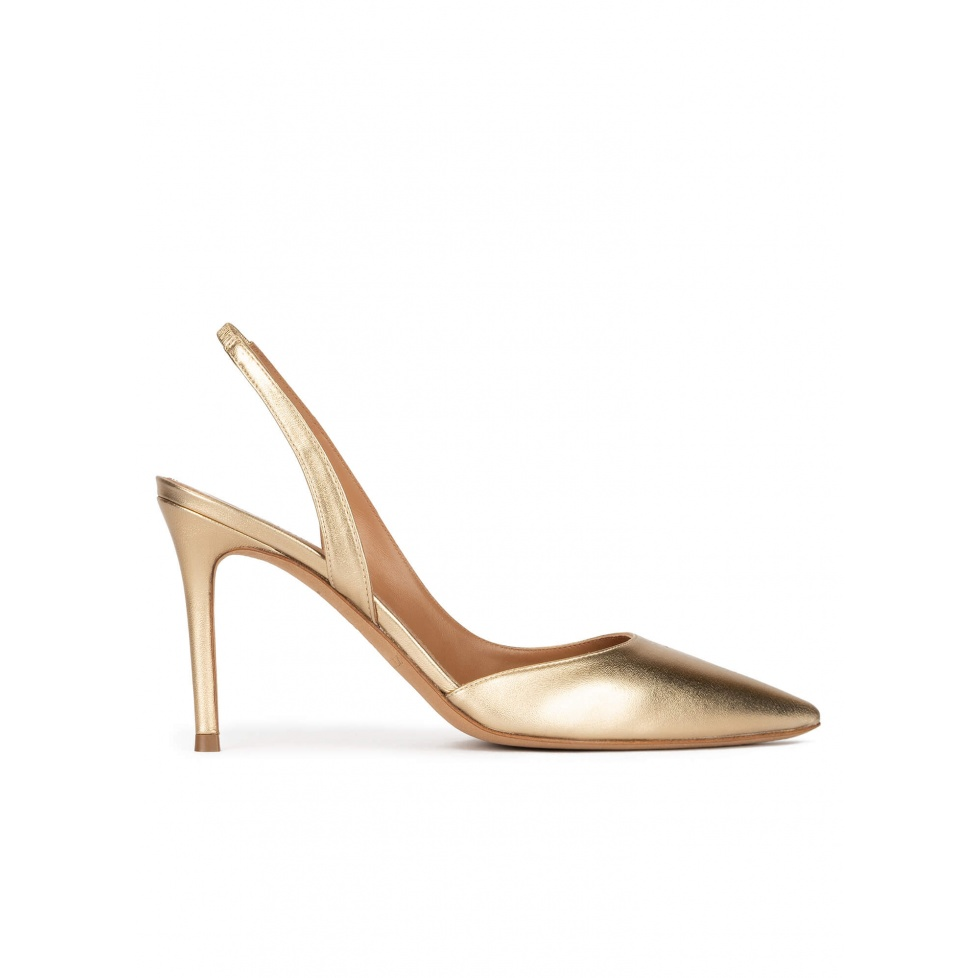 Golden slingback pointy toe pumps with 90mm stiletto heel