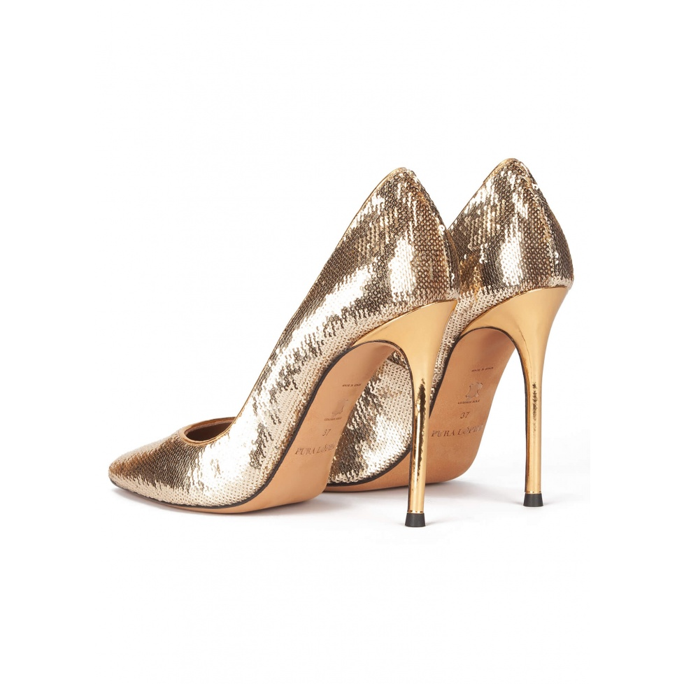Gold sequined point-toe high heeled pumps