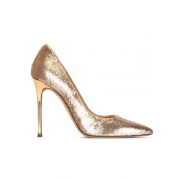 Gold sequined point-toe high heeled pumps Pura López