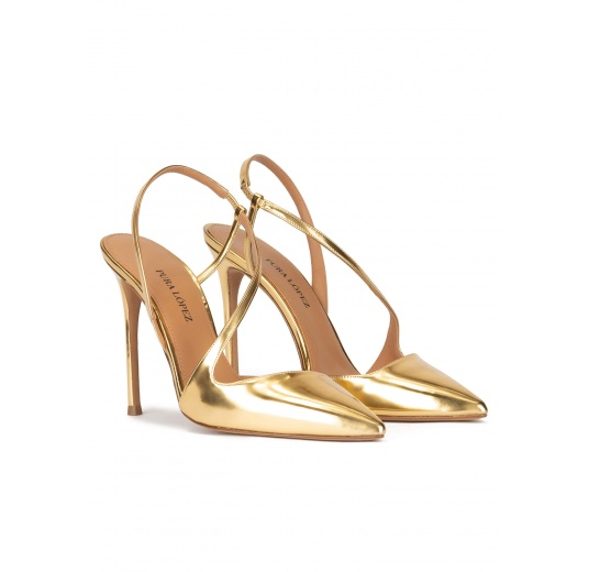 Gold high heel pointed toe slingback pumps in metallic leather Pura López
