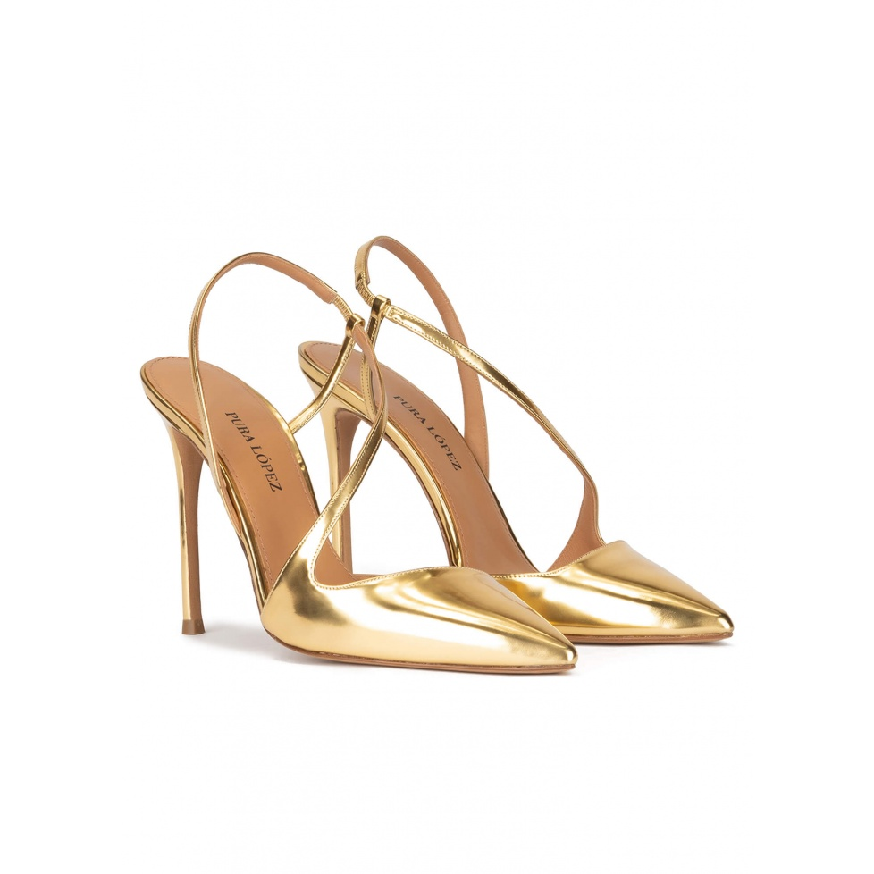 Gold high heel pointed toe slingback pumps