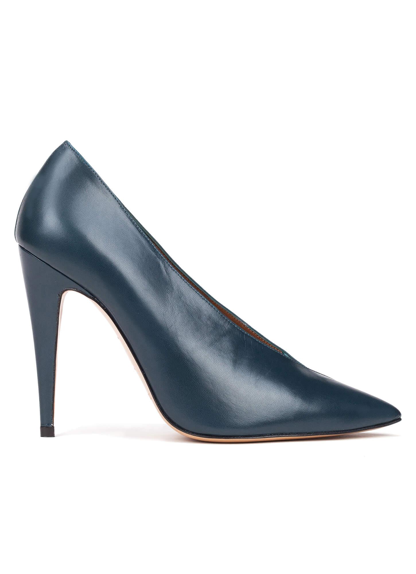 0bc620d03ba2 Petrol blue V-cut high heel pumps - online shoe store Pura Lopez ...