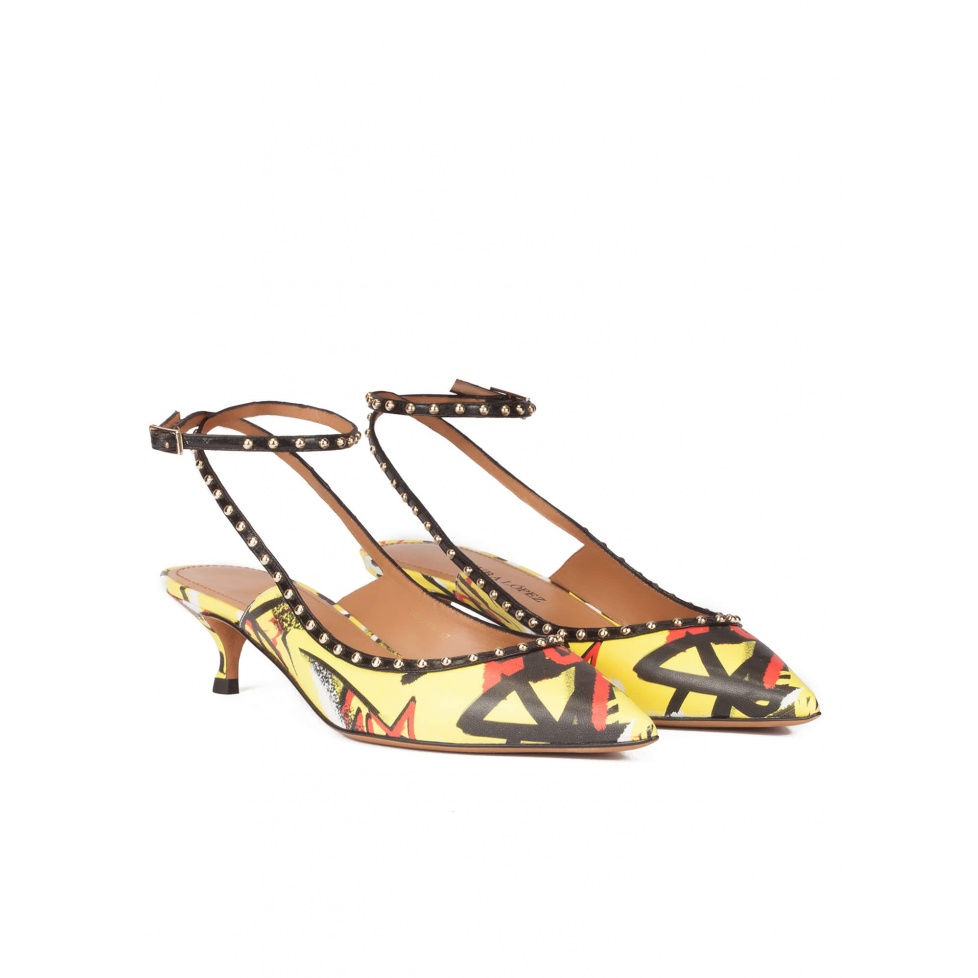 Graffiti print ankle strap mid heel point-toe pumps
