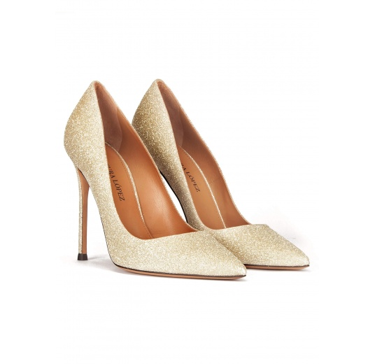 High heel pumps in golden glitter Pura L�pez
