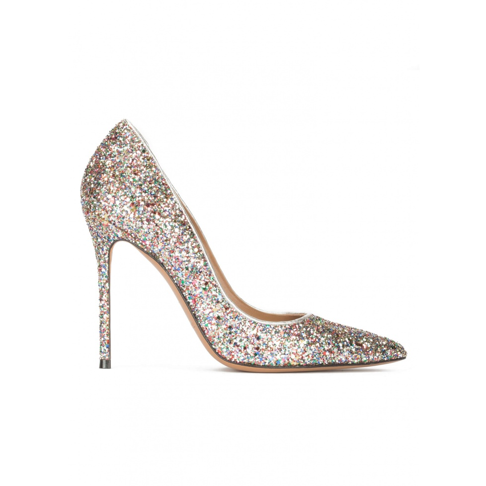 High heel pointy toe pumps in multicolored glitter