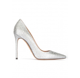High heel pumps in silver glitter Pura López