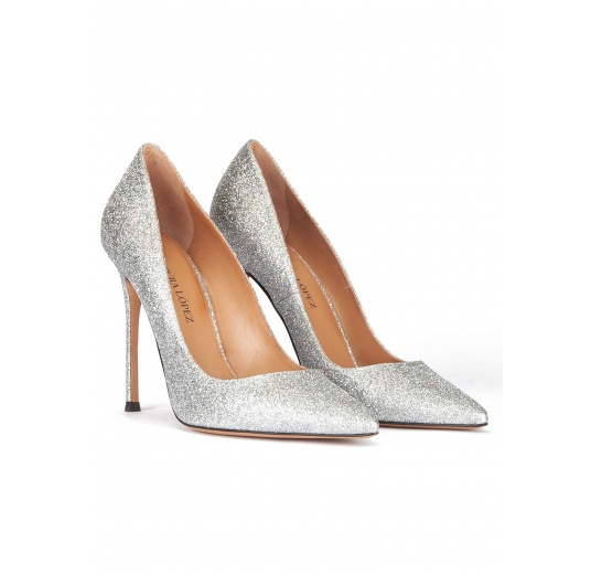 High heel pumps in silver glitter Pura L�pez