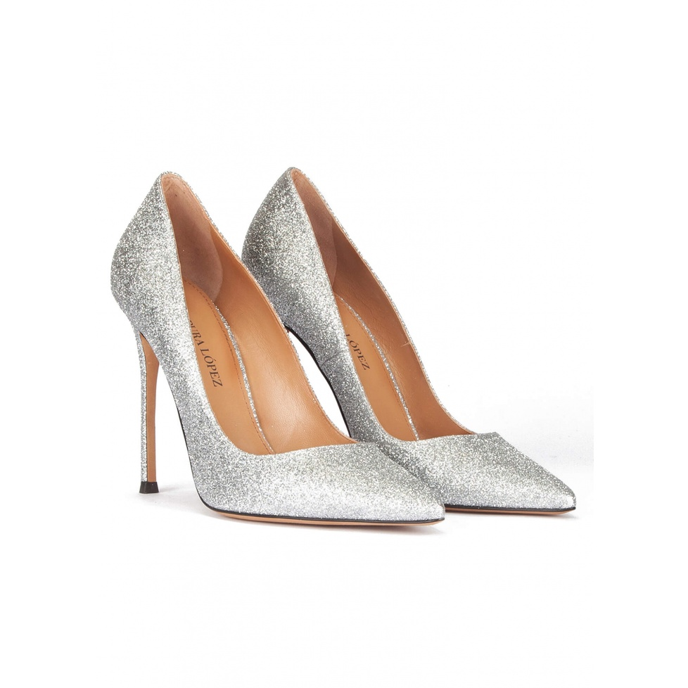 High heel pumps in silver glitter - online shoe store Pura Lopez