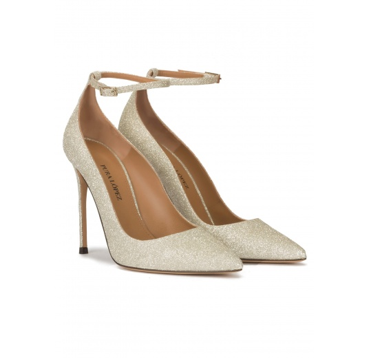 Ankle strap high heel pointy toe shoes in champagne glitter Pura L�pez
