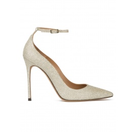Ankle strap high heel pointy toe shoes in champagne glitter Pura López