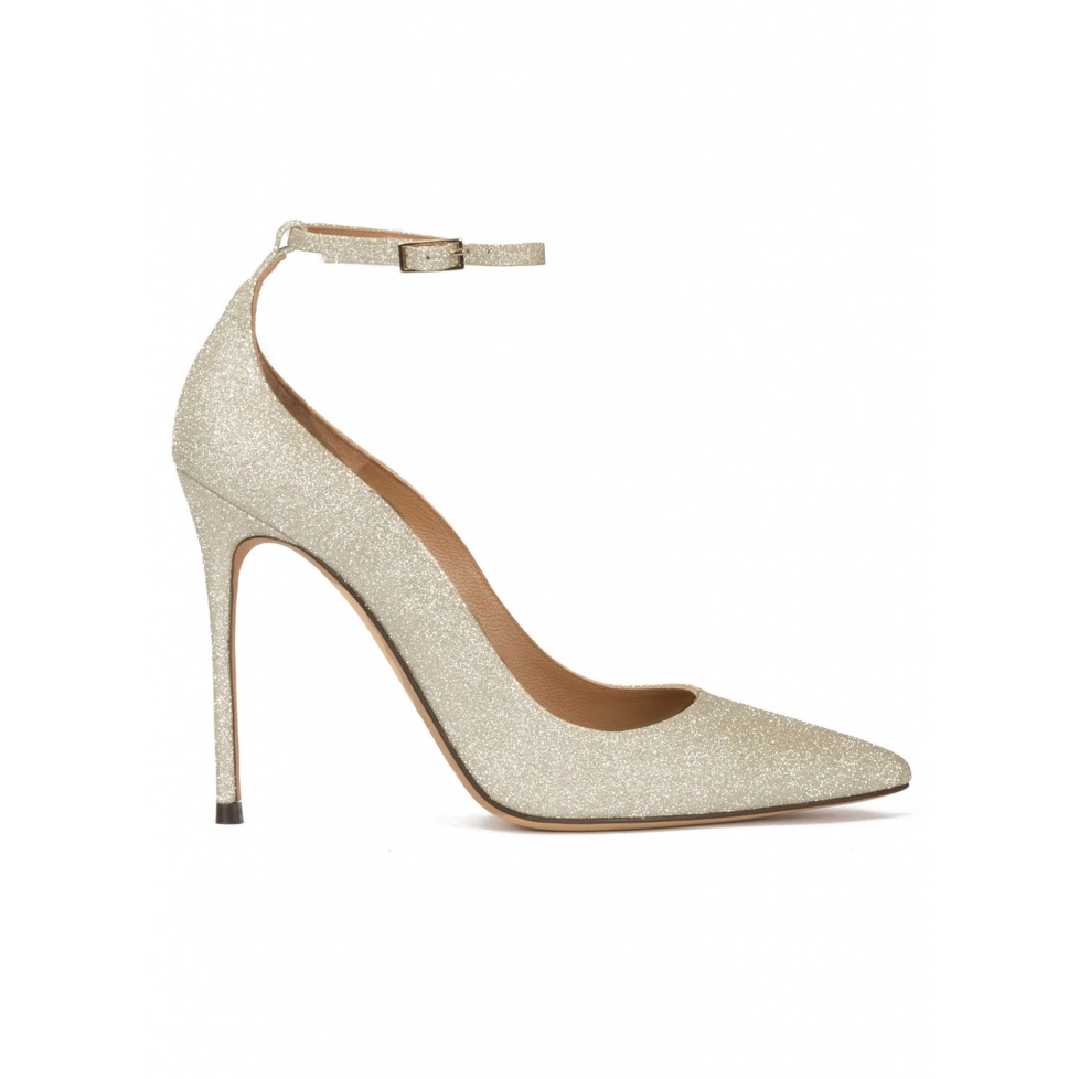 Ankle strap high heel pointy toe shoes in champagne glitter