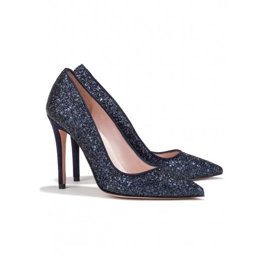 High heel pumps in navy blue glitter Pura L�pez