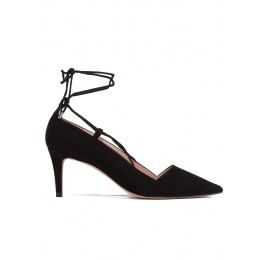 Lace up mid heel pumps in black suede Pura López
