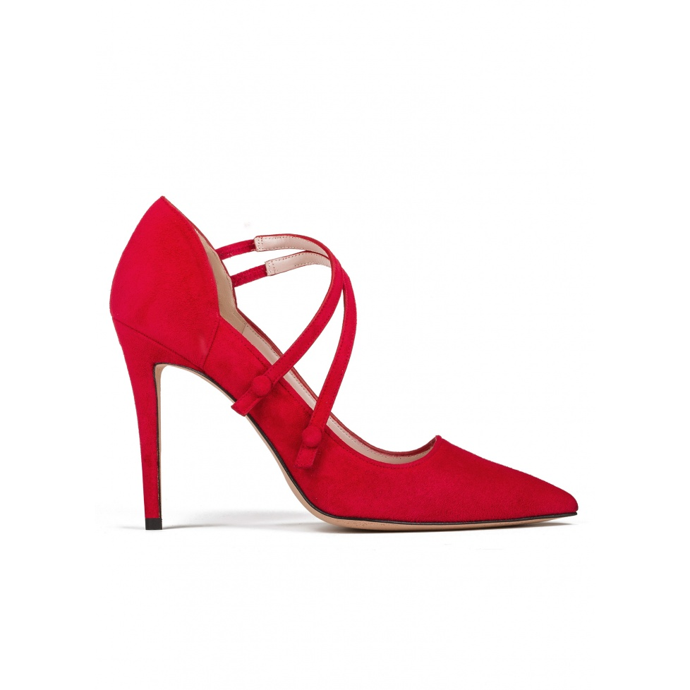 High heel shoes in red suede