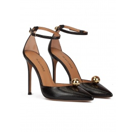 Ankle strap high heel pumps in black textured fabric Pura López