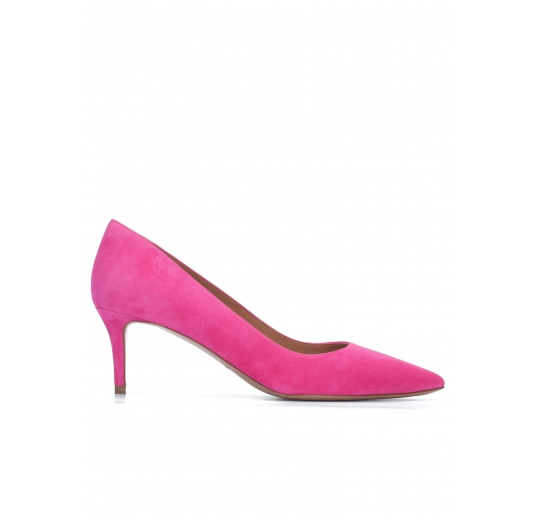 Mid heel pointy toe pumps in fuchsia suede Pura L�pez