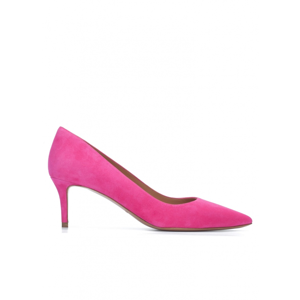 Mid heel pointy toe pumps in fuchsia suede