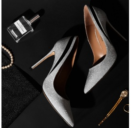 Point-toe heeled pumps in silver glitter Pura López
