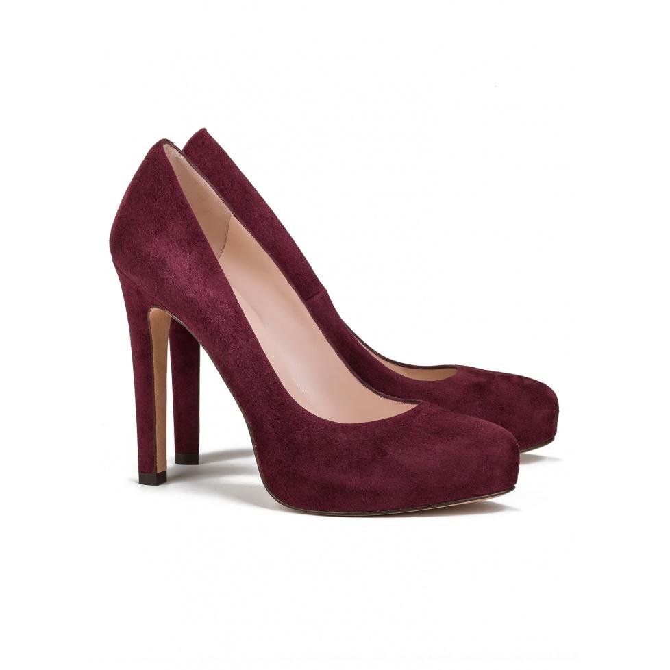 High heel pumps in burgundy suede - online shoe store Pura Lopez