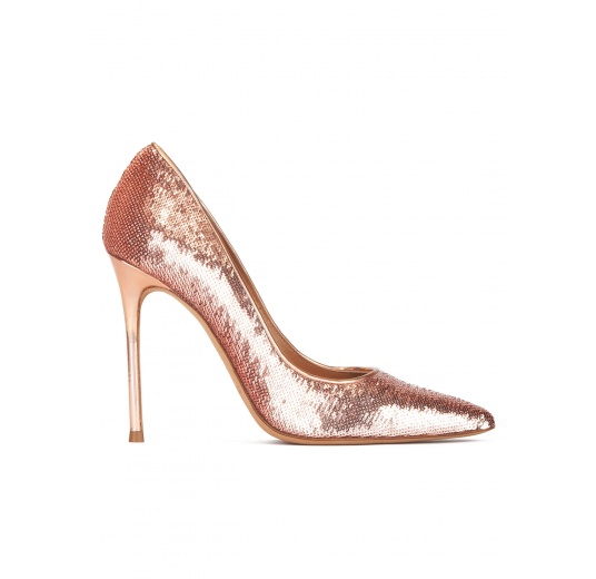 Nude sequined point-toe high heel pumps Pura L�pez