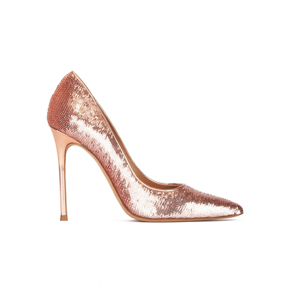 Nude sequined point-toe high heel pumps
