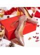 Zapatos de lentejuelas nude con tacón y punta fina