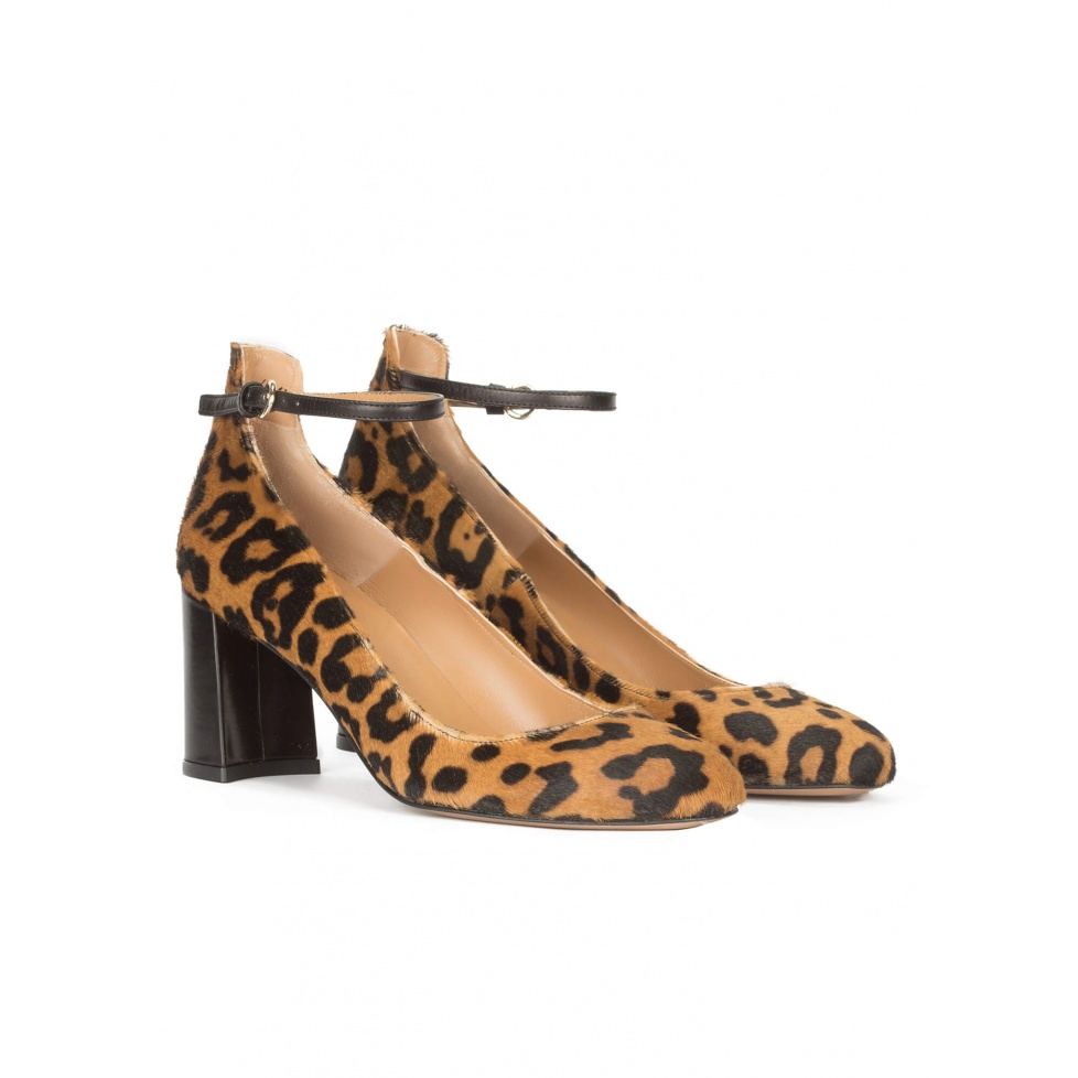 Leopard print ankle strap mid block heel shoes
