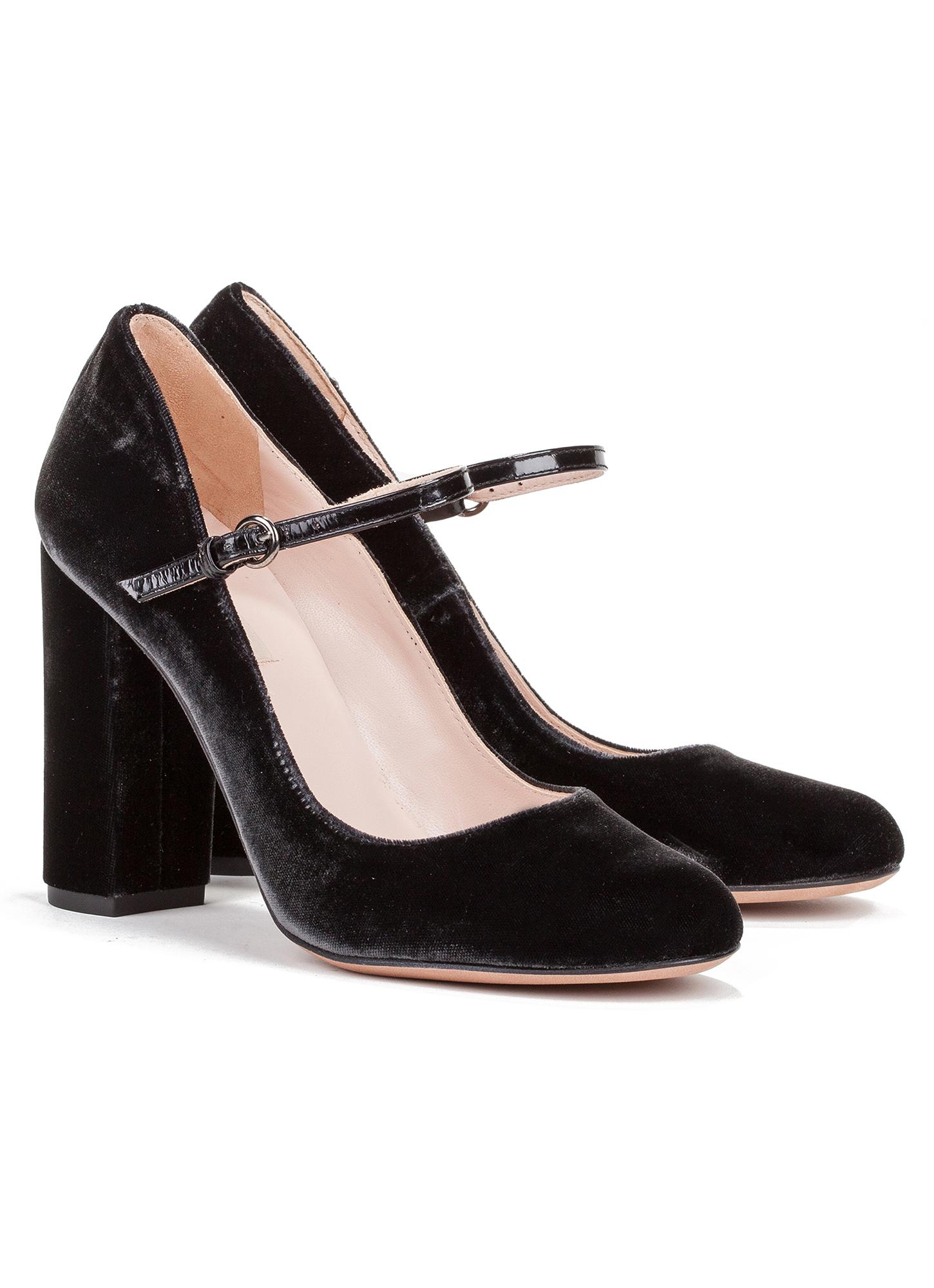 Zapatos de tacón forrados de terciopelo con hebilla gris 35 fgU4Id